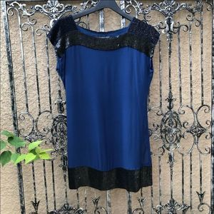 FRENCH CONNECTION blue black sequin shift dress 6